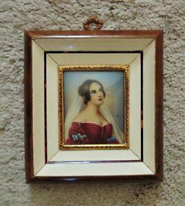 Italian-Miniature-Portrait-Watercolor-Painting-Empress-Josephine-Boneparte-Signe
