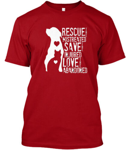 Mistreated Injured Hanes Tagless Tee T-Shirt Rescue Save Love Animal Dog Lover