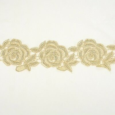 Floral Metallic Embroidery Antique Lace Trim #320 by the yard Bridal Wedding