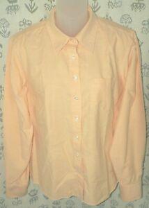LANDS' END Women's Sz Medium Light Orange 100% Cotton Oxford LS Button Shirt EUC