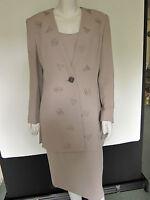 SALE Frank Usher Beige 3 Piece Skirt Suit Size 12 Wedding/Christening -