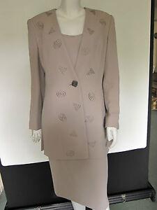 SALE-Frank-Usher-Beige-3-Piece-Skirt-Suit-Size-12-Wedding-Christening