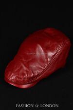 Red FLAT CAP Real 100% Lambskin Leather Mens Newsboy Bunnet Golf Ascot Beret Hat