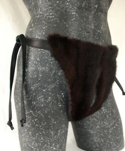 Panties-Mink-Full-Double-Sided-Men-039-s-Fur-Mink-Pant-Crotchless-Open-Dark-Braun