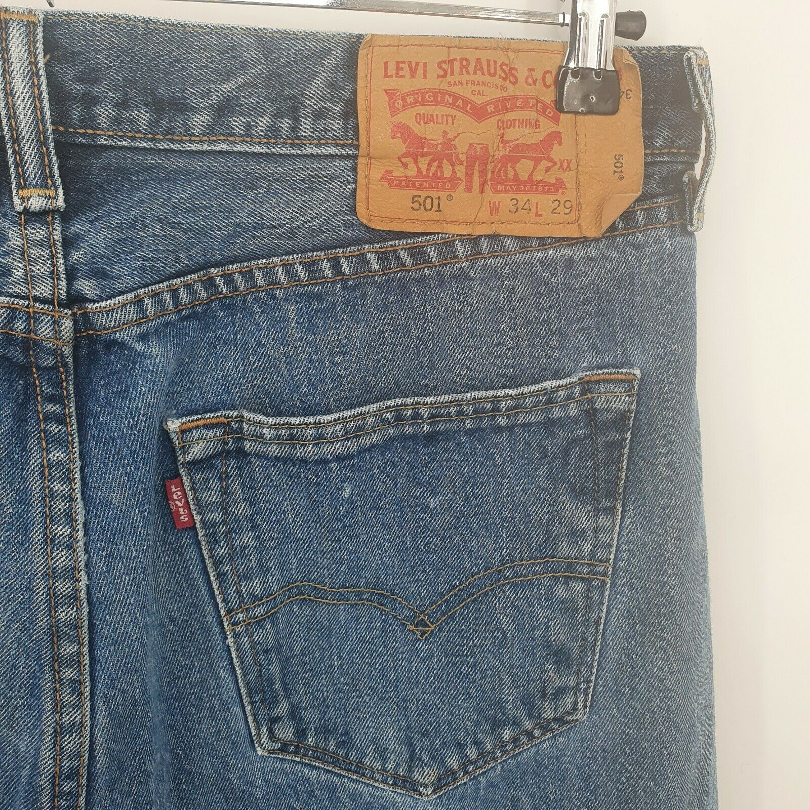 Levis 501 Distressed Jeans Button Fly Light Wash… - image 2