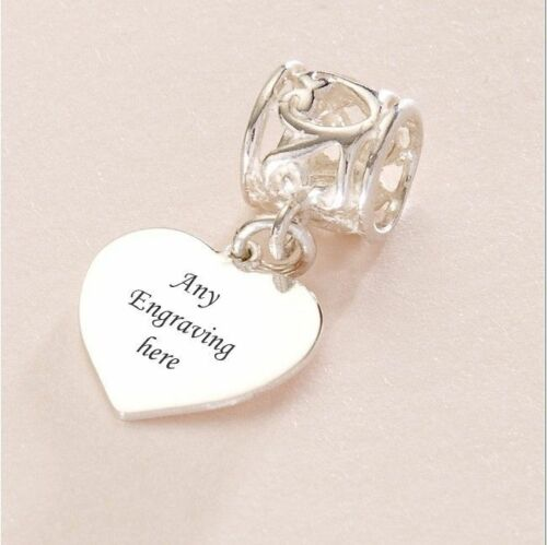 Names etc Stg Silver Engraved Photo Charm Personalised with Photo and Words