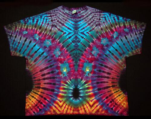 T-shirt taille s 5xl manches courtes teinte Hippie tie dye Batik flower power Goa NEUF