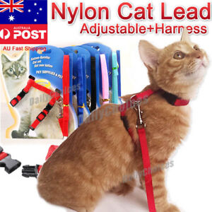 Soft Nylon Cat Kitten Puppy Adjustable Harness Leash with Clip Pet Walking Lead