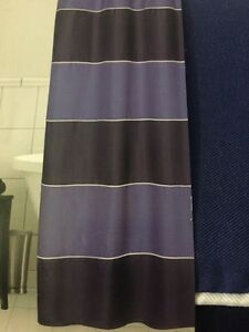 Image Is Loading Kohl 039 S Fabric Shower Curtain Blue Stripe