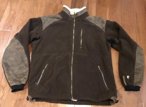 tipo chaqueta de L tipo aviador marrón Fleece sintético marrón Kuhl Abrigo Alpenwurxs de Parches cuero Sz gdqEw5g