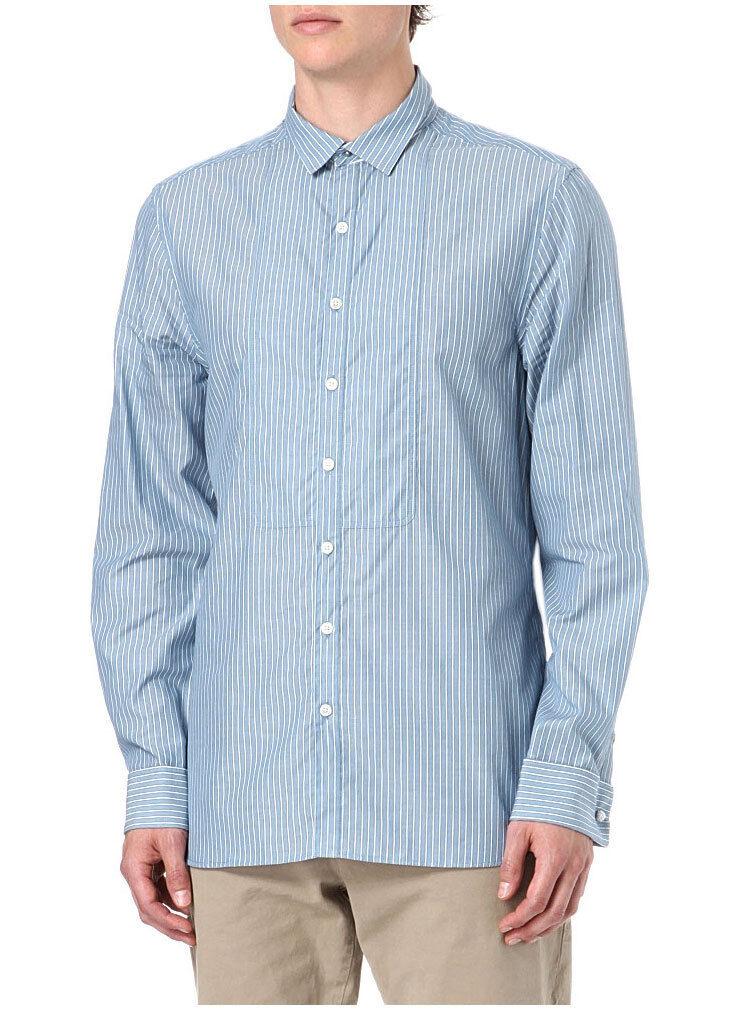 FARRELL bluee Jim Striped Button-Front Shirt Medium M Features 3 in 1 Collar