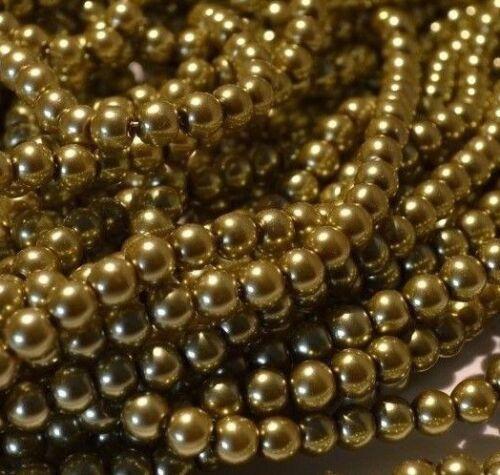 Antique Or Verre Perle Perles 4 mm 6 mm 8 mm 10 mm À faire soi-même Bijoux Mariages Crafts