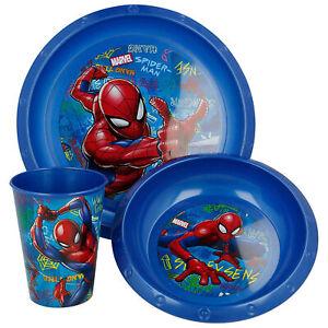 Set Desayuno 3 Piezas Marvel Spiderman Plato Vidrio Y Tazón Asilo 3280