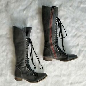 comprando ahora venta online imágenes oficiales Steve Madden Perrin Tall Women's Lace-Up Combat Boots Gray Red ...