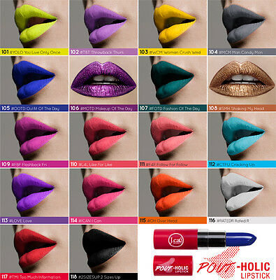 J Cat POUT-HOLIC Creamy&highly pigmented pastel, neon, gothic colored lipsticks