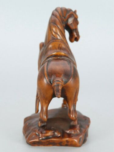 Chinese Exquisite Hand-carved horse Carving Boxwood statue
