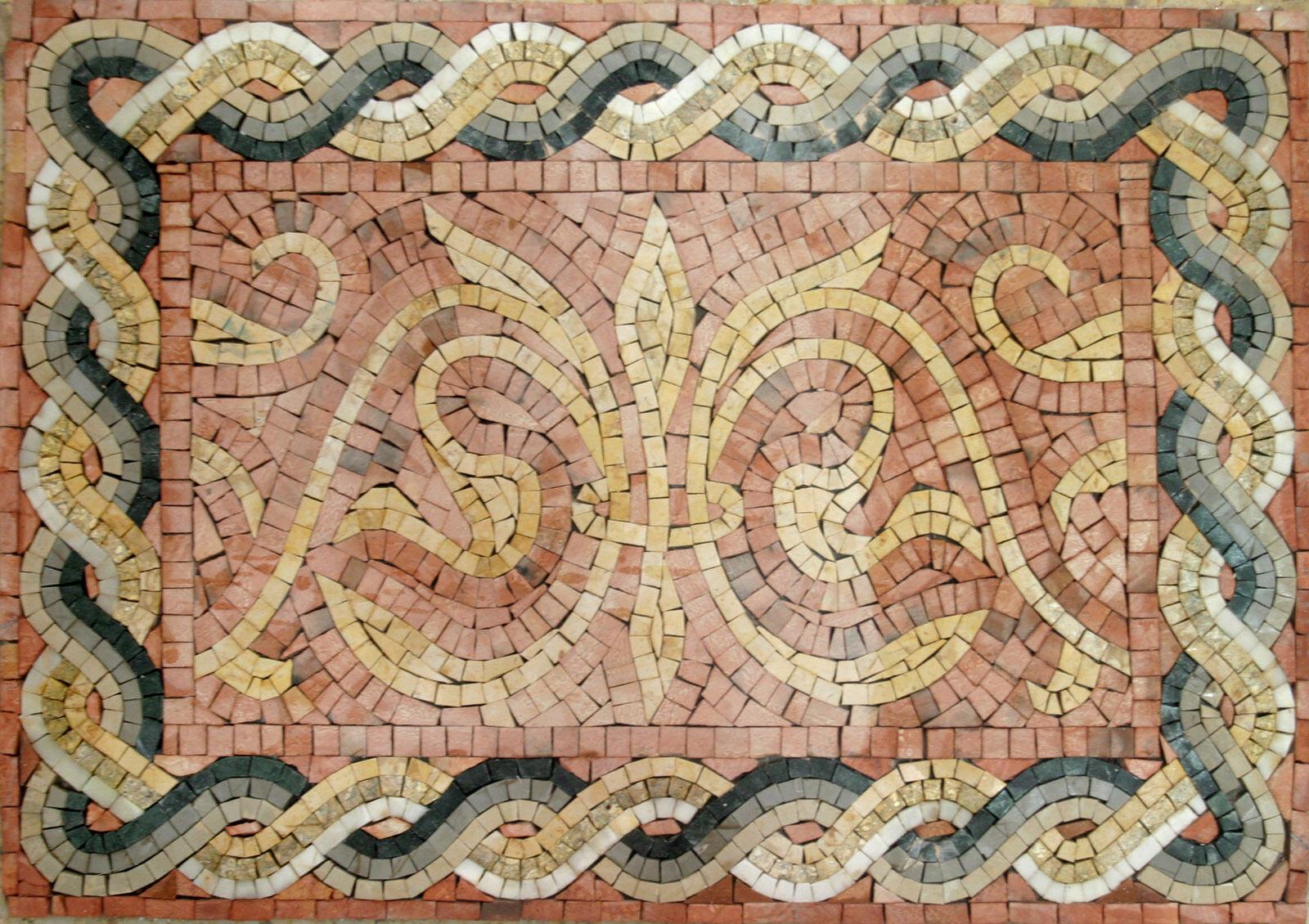 Fleur De Lys Majestic Border Skirting Floor Wall Marble Mosaic BD621