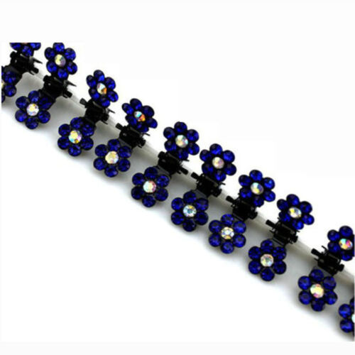 12 STÜCKE Damen Kristall Blume Mini Haargreifer Clamp Haarspange Haarnadel NEU