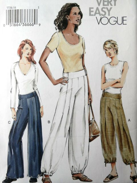 EASY VOGUE 7736 MISSES LOW-RISE WIDE-LEGGED PUFFED PANTS SEWING PATTERN SZ 6-22