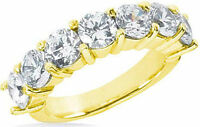 2.10 carat 7 Round Diamond Wedding Ring Anniversary 14k Yellow Gold Band G-SI1