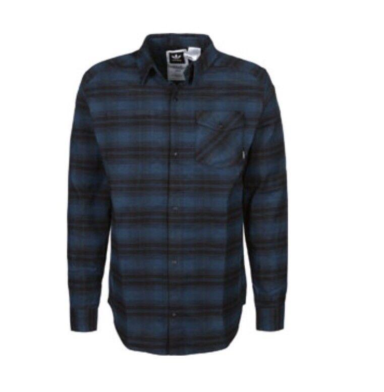 uomo Adidas Camicia di flanella STRETCH-Blu e e e Nero-L nuova con etichetta 32d404