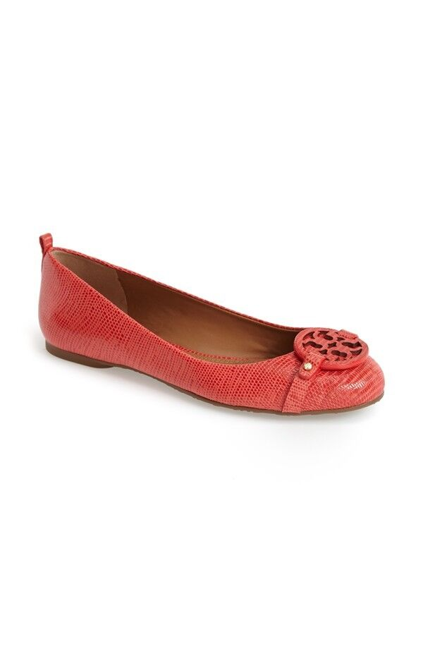 NEW $235+ Tory Burch Mini Miller Ballet Flat Shoe Melon Micro Tejus Sz 6.5