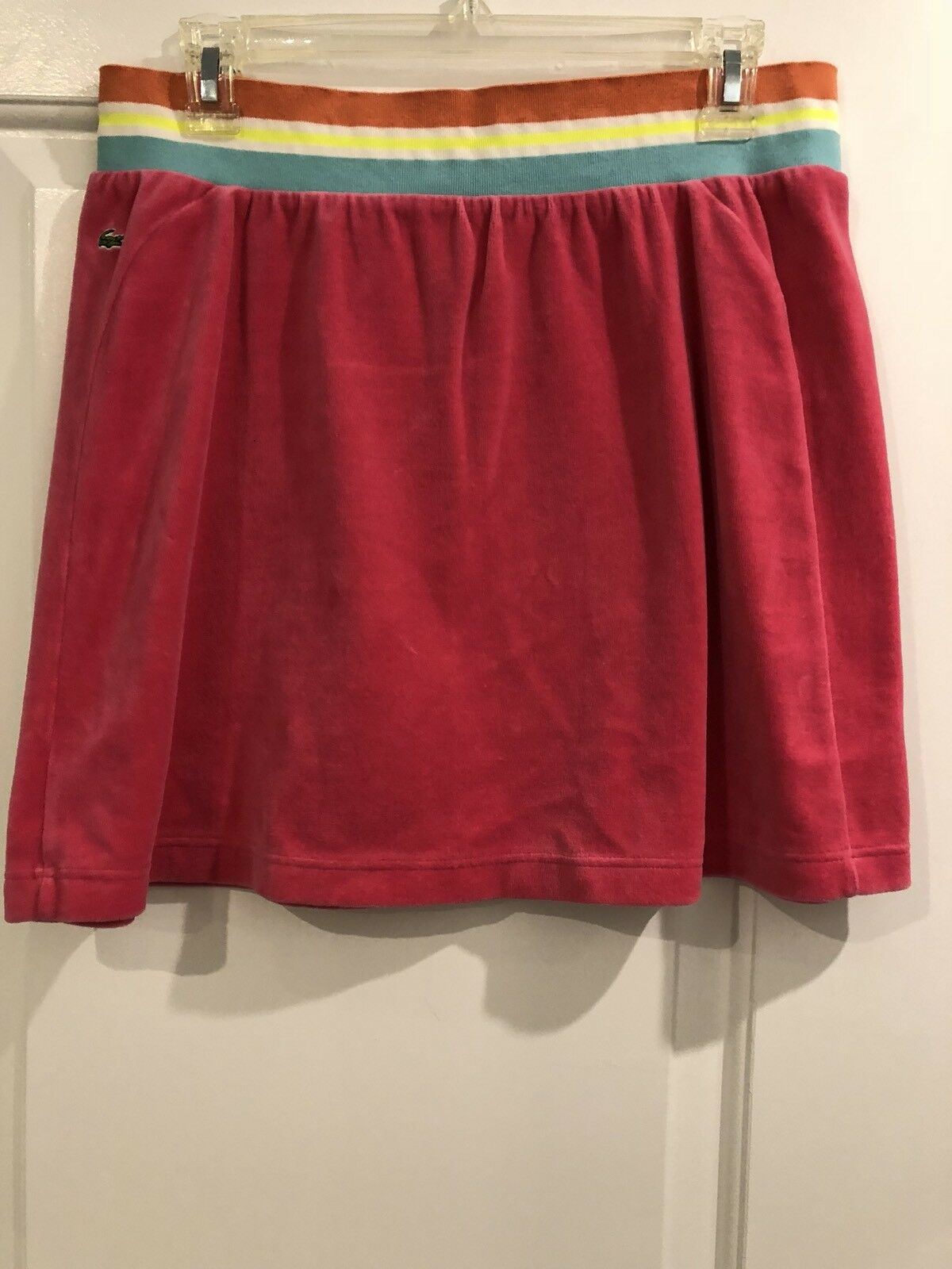 New LACOSTE Womens Velour Skirt Hot Pink Size 44