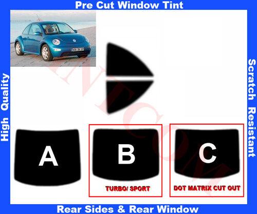 Pre Cut Window Tint VW Beetle 3D  1998-2011 Rear Window & Rear Sides Any Shade