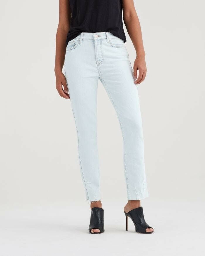 219 NWT 7 For All Mankind Edie High-Rise Ankle Straight Leg Jeans Light Wash 26