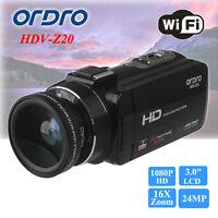 1080p Digital Video Camera 3 Lcd 32x Zoom Camcorder Dv+wide Lens+teleconvertor