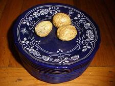 Rare Este for Tiffany & Co  trompe l'oeil Italy Italian pottery box walnuts lid