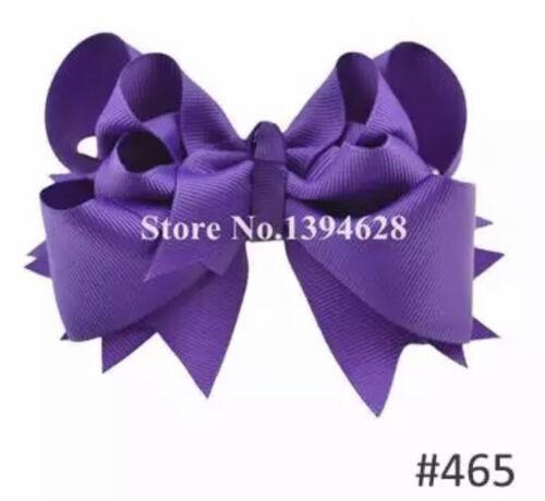5 inch 100/% Ribbon Fashion Bows Boutique Children Hairpins Hair Clips Girl UK