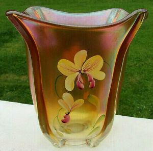 "Fenton Glass Hand Painted Golden Orchids on Marigold Carnival Glass Vase 7.5""H"
