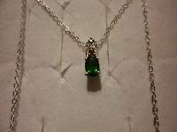 Russian Diopside, Pink Tourmaline & Diamond Pendant W/18 Chain In 925 Sterling