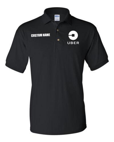 CUSTOM NAME UBER DRIVER  MEN/'S GILDAN POLO SHIRT T-SHIRT-BLACK