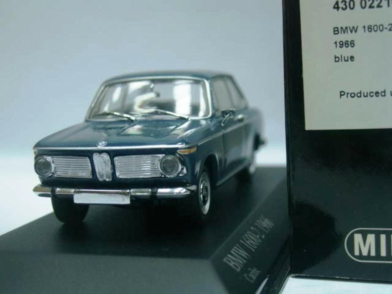 Wow extrêmement rare BMW 1600 2 typ 114 1966 Bleu 1 43 Minichamps - 1802 2000 2002