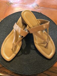 7b7794485 Image is loading Apostrophe-Tan-Jeweled-Leather-Sandals-Slip-on-Thong-