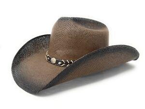 Summit Hats Two-Toned Brown & Black Toyo Straw Cowboy Hat sz: S/M & L/XL