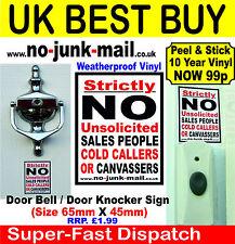 NO COLD CALLING Vinyl Door Sticker/Sign,Stops Cold Callers, Sales Calls, Hawkers