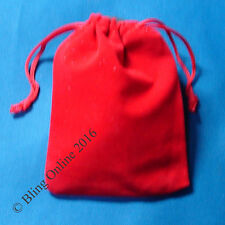 1pc SMALL 10cm x 9cm RED FABRIC PULL CORD GIFT POUCH CHRISTMAS XMAS PRESENT BAG