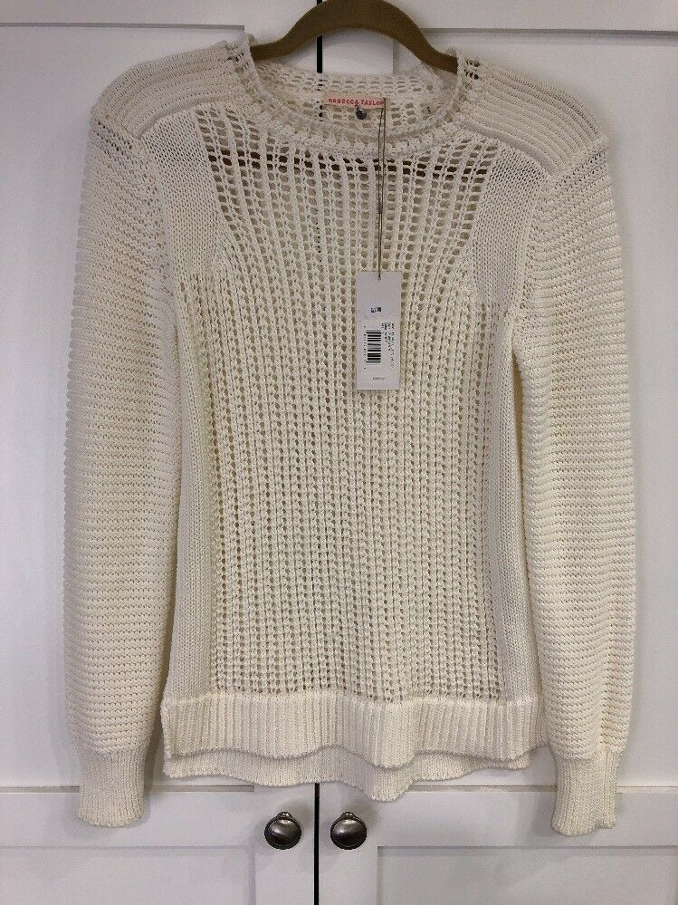 NWT  350 Rebecca Taylor Moto Lattice Sweater, Sweater, Sweater, White, Size Small a88573