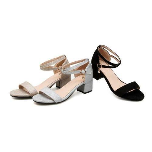 Womens Korea Open Toe Block Mid Heel Roman Sandals Date Dress Shoes All Size