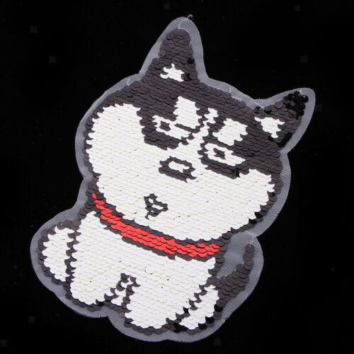 Reversible Pailletten niedlichen Hund Eisen auf Stickerei Applikation