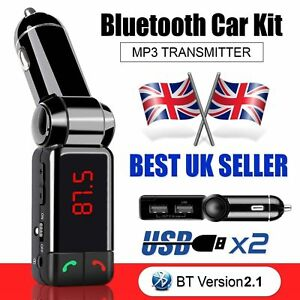 Wireless-Bluetooth-Car-Kit-FM-Transmitter-MP3-USB-LCD-Handsfree-For-Mobile-Phone