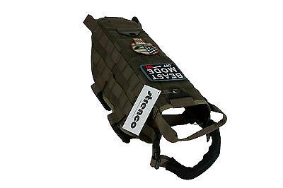 Tactical Dog Training K9 Vest Molle Harness Green Milspec Strenco Service Dog