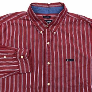 Chaps-Button-Up-Shirt-Mens-2XL-Red-Blue-White-Long-Sleeve-Cotton-Striped-Casual