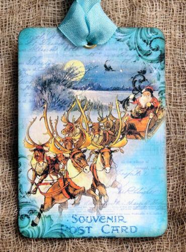 Hang Tags  SANTA SLEIGH CHRISTMAS TAGS or MAGNET #346  Gift Tags