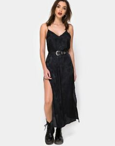 MOTEL-ROCKS-Hime-Maxi-Dress-in-Satin-Black-Rose-L-Large-MR40