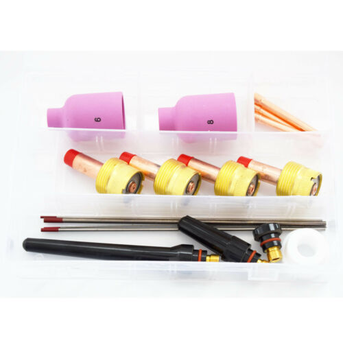 SR WP17 18 26 TIG Welding Torch Consumables Kit Gift Large Gas Lens Nozzles Red