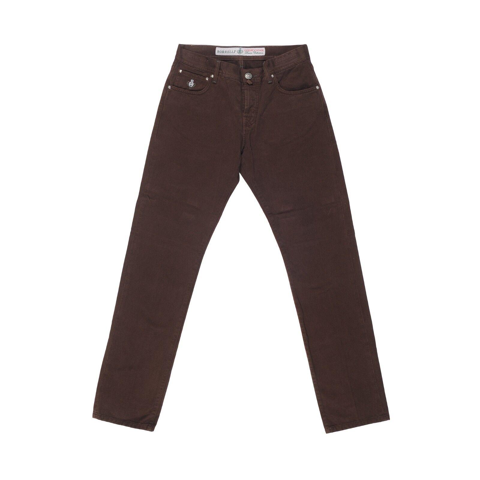 Luigi Borrelli Napoli 5 Tasche Braun Baumwolle Jeans Hosen Größe 33 Neu BR91